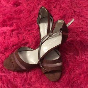 Calvin Klein dark mauve sandals NWOT